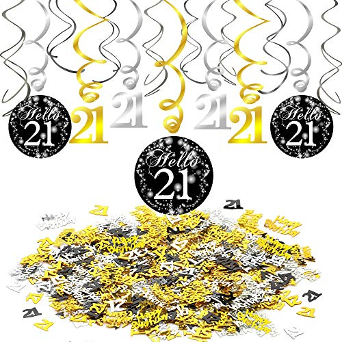 Konsait 21st Swirl Birthday Hanging Decorations Black and Gold (15 Counts), Happy Birthday & 21st Birthday Party Table Confetti (1.05oz), 21st Birthday Decorations Party Supplies Gift for Her/Him