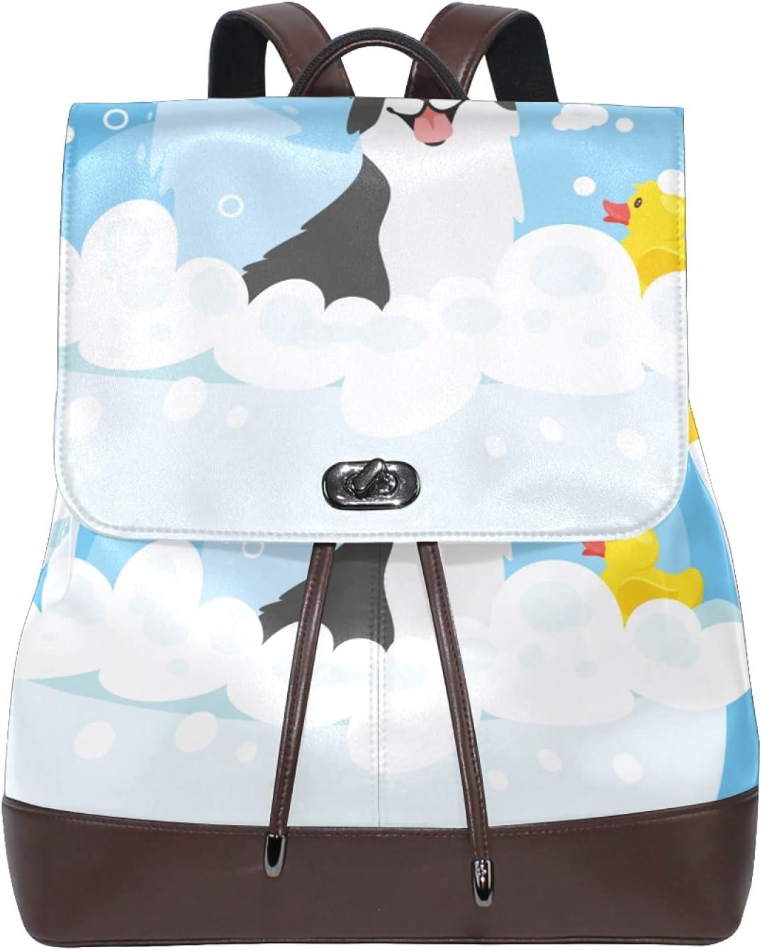 Women Leather Backpack Ladies Fashion Shoulder Bag Large Travel Bag Cartoon Dog Bathing Pattern