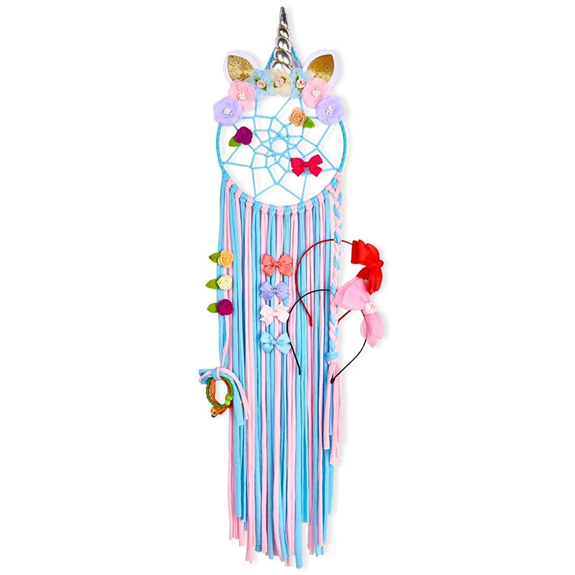 Beinou Hair Bow Holder Unicorn Headband Holder Hair Clips Organizer Metal Hoop Hairbow Hanger Alligater Clips Hair Accessories Storage Hair Barrettes Organizer (Blue and Pink)