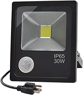 GLW 30W LED Motion Sensor Flood Light,Daylight White Lamp with Sensitive PIR, IP65 Waterproof Outdoor Lighting,110V Security Light for Backyard,Warehouse, Pool,Garage,Path, Fence
