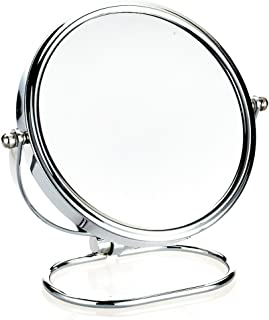 NYDZDM European-Style Metal Makeup Mirror Desktop Double-Sided Vanity Mirror HD Beauty Magnifying Mirror 360 ° Freely Rotating Mirror (Size : 6 inches)