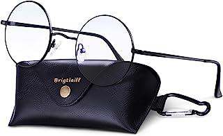 Brigtlaiff Round Blue Light Blocking Glasses for Men Women John Lennon Style Computer Gaming TV Glasses Anti Eyestrain (Black Frame)