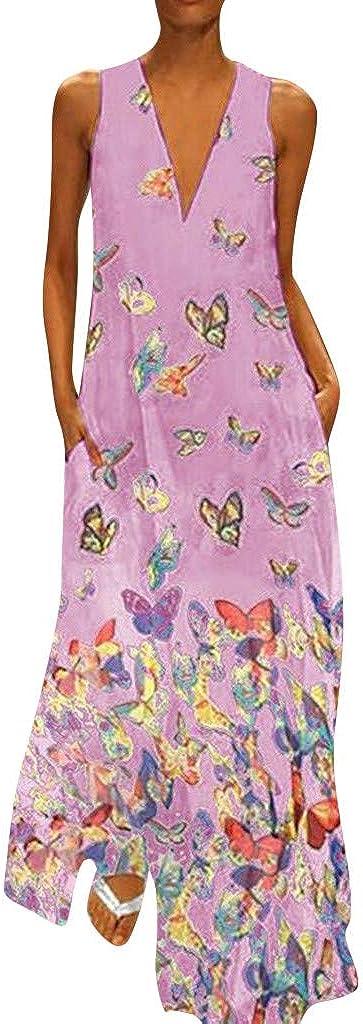 Womens Boho Dresses Sleeveless Maxi Party Dress Loose Oversize Print Comfort Summer Dress V Neck