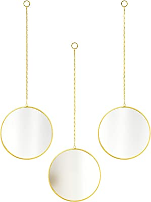"""CoolXuan Round Hanging Mirror for Wall 3PC Gold Circle Mirror with Chain Wall Mounted for Minimalist Home Decor (Round, 3PC,Golden, 5.9"""" x 5.9"""")"""