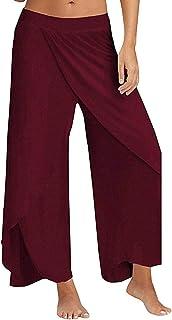 STARBILD Women High Split Cropped Yoga Pants High Waist Wide Leg Yoga Flowy Layered Palazzo Pants
