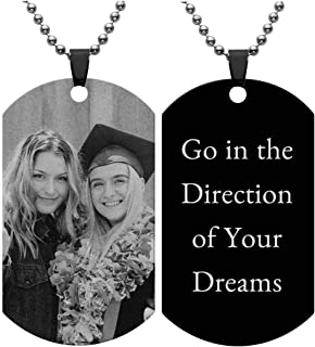 Personalized Custom Photo Picture Text Engraved Stainless Steel Dog Tags Necklace Message Pendant Customized Valentine's Mother's Father's Day Birthday Gift