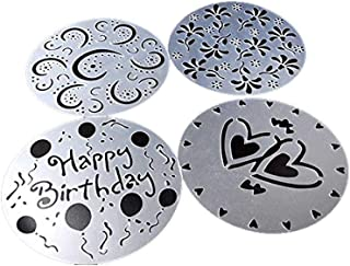 Lautechco 4Pcs/Set DIY Birthday Cake Spray Mold Decorating Heart Flower Screen Printing Film Coffee Tiramisu Decorating Bakery Tool