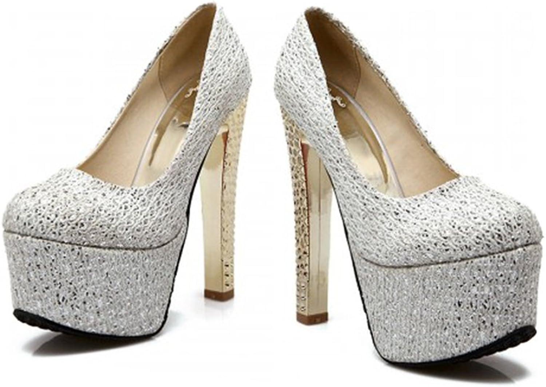 Super High Wedding shoes Bridal Plus Size Night Club T Stage silver 39