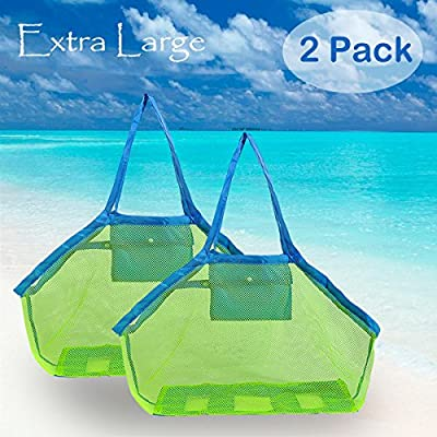 Extra Large Mesh Beach Bags Tote Bags Beach Necessaries Stay Away from Sand, Perfect for Holding Children Toys - 2 Pack
