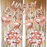 Zerodeco Decorazione Compleanno, Oro Rosa Happy Birthday Palloncini Palloncino in Foil a C...