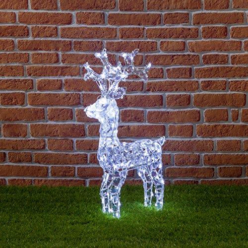 XMASKING Renna con Cristalli, 100 LED Bianco Freddo, H70 cm, Renne Luminose per Esterno, Decorazioni di Natale, luci Natalizie, Figure Luminose