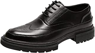 XueQing Pan Brogue Oxfords for Men Wedding Shoes Lace up Microfiber Leather Pointed Toe Platform Solid Color Block Heel Perforated Anti-Skid (Color : Black, Size : 7 UK)