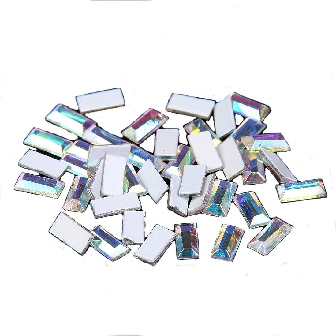 普遍的な長いですクラブNizi ジュエリー ブランド 50粒ガラスネイルアート用品 ネイルステッカー DIY 装飾用 クリスタルオーロラ 多くのスタイル (長方形 5x2.5mm)