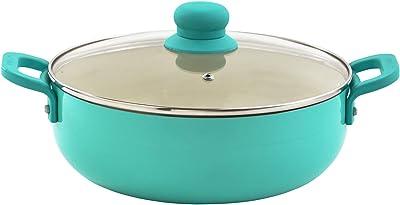 IMUSA USA, T Caldero (Dutch Oven) with Glass Lid Ceramic Interior 6.9-Quart, Teal