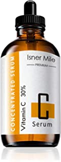 Isner Mile Premium 30% Vitamin C Serum for Face with Hyaluronic Acid,Anti Aging Anti-Wrinkle Skin Care Facial Serum,Instant Moisturizers Concentrated Serum,1 fl oz