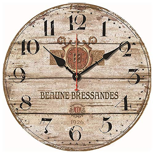 Reloj de Pared de la Serie Farmhouse, 14 Pulgadas (Aproximadamente 34 cm), Reloj Redondo clásico de Estilo Retro, silencioso, sin tictac, Restaurante,cafetería, decoración de Arte de Pared