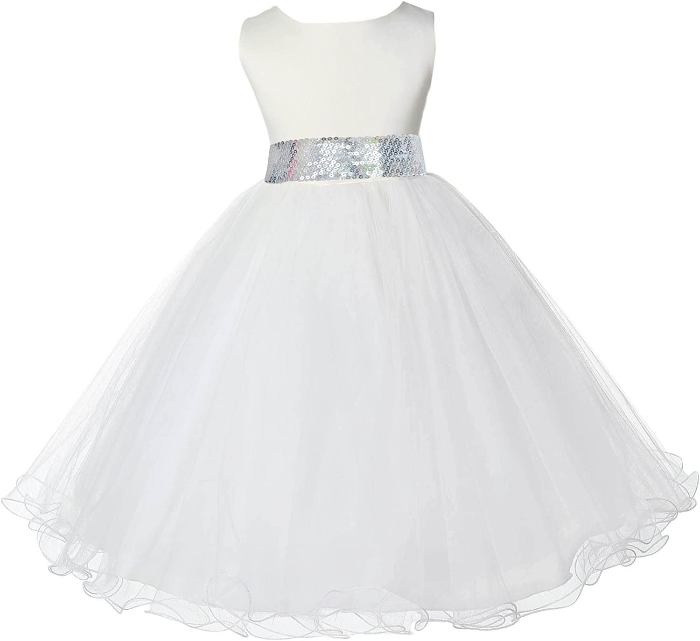 ekidsbridal Ivory Tulle Rattail Edge Sequin Sash Flower Girl Dress 829mh