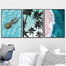 JHCT Pineapple Palm Tree Blue Sea Beach Wall Art Canvas Painting Nordic Posters and Prints Wall Pictures for Living Room Decor 40X50Cmx3 Pcs No Frame Wall Art