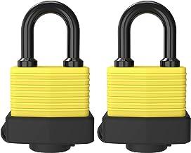 Diyife Hangslot met sleutel, [2 Pack] [4 sleutels] sleutelhangslot weerbestendig buiten, waterdicht slot 40mm zware hangsl...