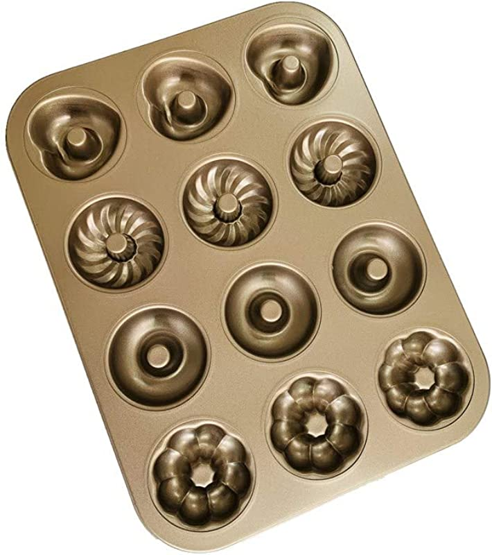 Extra Thick Donut Pan 12 Cavity 4 Pattern 2 75 Non Stick Pan Medium Size FDA Approved F BBKO Champagne Gold Donut Mold Cake Pan