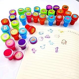 JZK Sea Animal + Emoji + Wild Animal, 30 Ink Stamps for Kids Stamp Set self Inking Stamper for Children Birthday Party Bag...