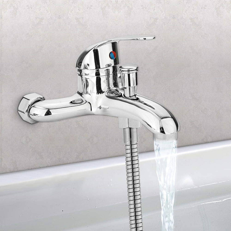 WSLWJH Badezimmer Küchenarmatur Zink-Legierung Waschtischarmaturen Chrom Wandmontage Heies Kaltes Wasser Dual Auslauf Mischbatterie Wasserhahn Bad Dusche Becken