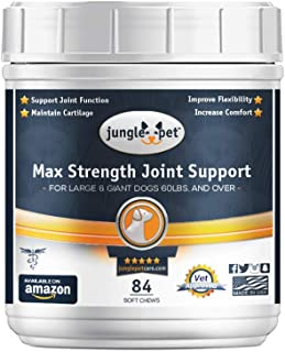 Jungle Pet Joint Support Max Chew Treat for Large Dogs - Highly Palatable - Joint Support; Turmeric-Glucosamine-Chondroitin-MSM-Omega3s