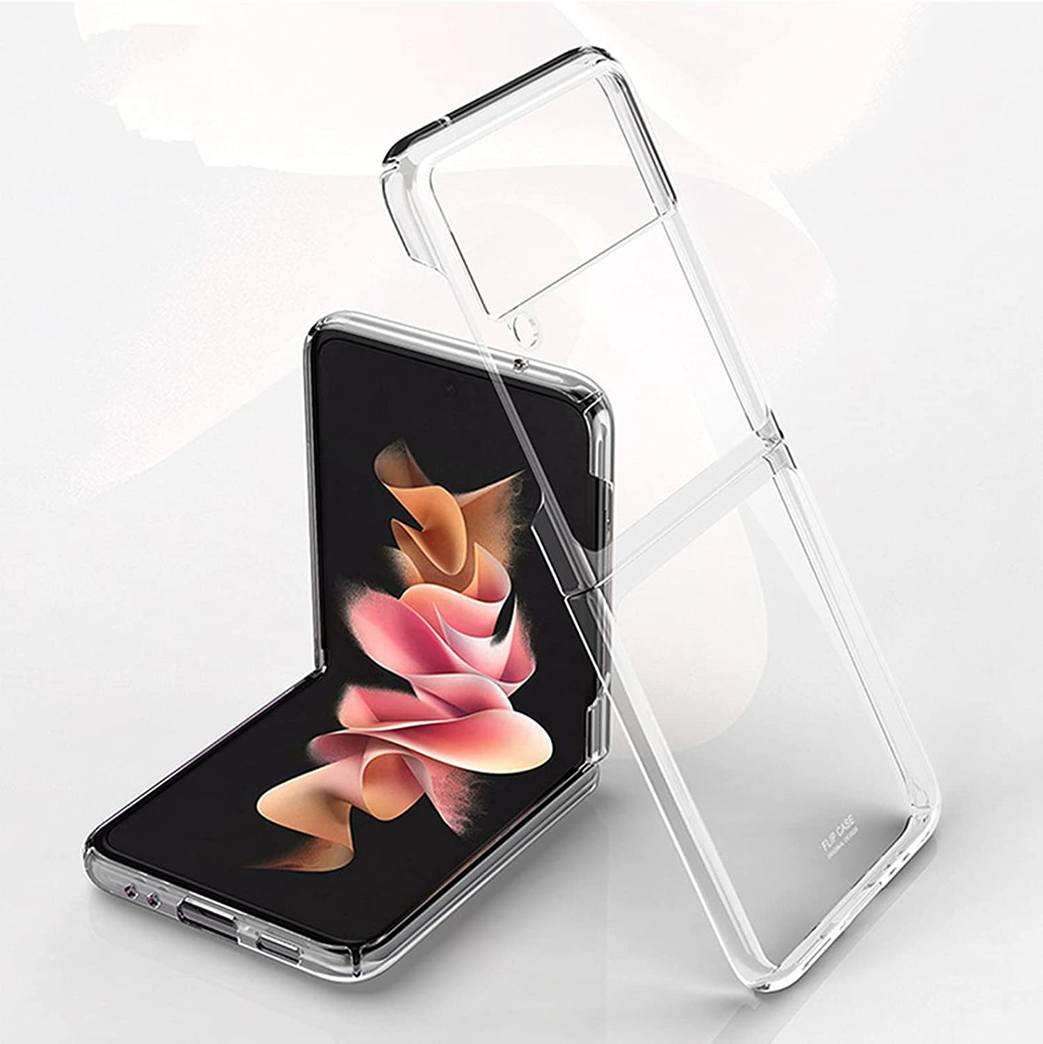 Z Flip 3 Case, Slim Case for Samsung Galaxy Z Flip 3, Luxury Transparent Plating PC Crystal Cove Finish Anti-Scratch Shockproof Protective Case for Samsung Galaxy Z Flip 3 5G. (Clear)
