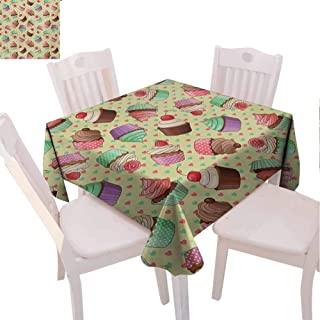 VICWOWONE Multi-Pattern Square Tablecloth Coffee Daily use Coffee Shop Bakery Inspired Tasty Cupcake Pattern on a Polka Dot Hearts Backdrop (Square,W63 x L63) Multicolor
