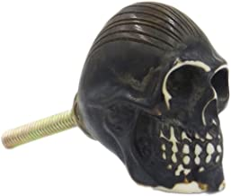 Skull Black Resin Knob Pulls for Cabinet, Dresser, Drawers or Doors - Pack of 12