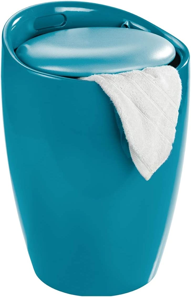 WENKO Bathroom Stool Laundry Bin Candy Petrol Mesa Mall We OFFer at cheap prices 36 Blue x in