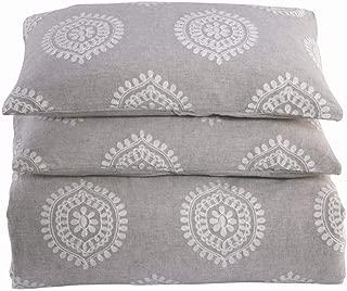 meadow park Washed Linen Cotton 3PCS Duvet Cover Set, Queen Size, Super Soft, Modern Medallion Crewel Embroidery, Pastel Grey