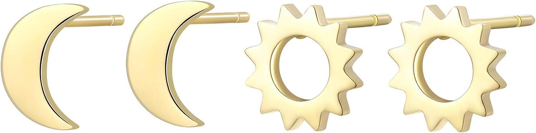 Happiness Boutique Women Sun Moon Earrings Set in Gold Color 2 Pair Asymmetrical Stud Earrings