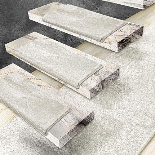 Floordirekt Velours-Stufenmatten Sundae | Halbrund oder Eckig | Treppenmatten in 6 Farben | Strapazierfähig & pflegeleicht | Stufenteppich für Innen (Creme, Eckig 65 x 23,5 cm)