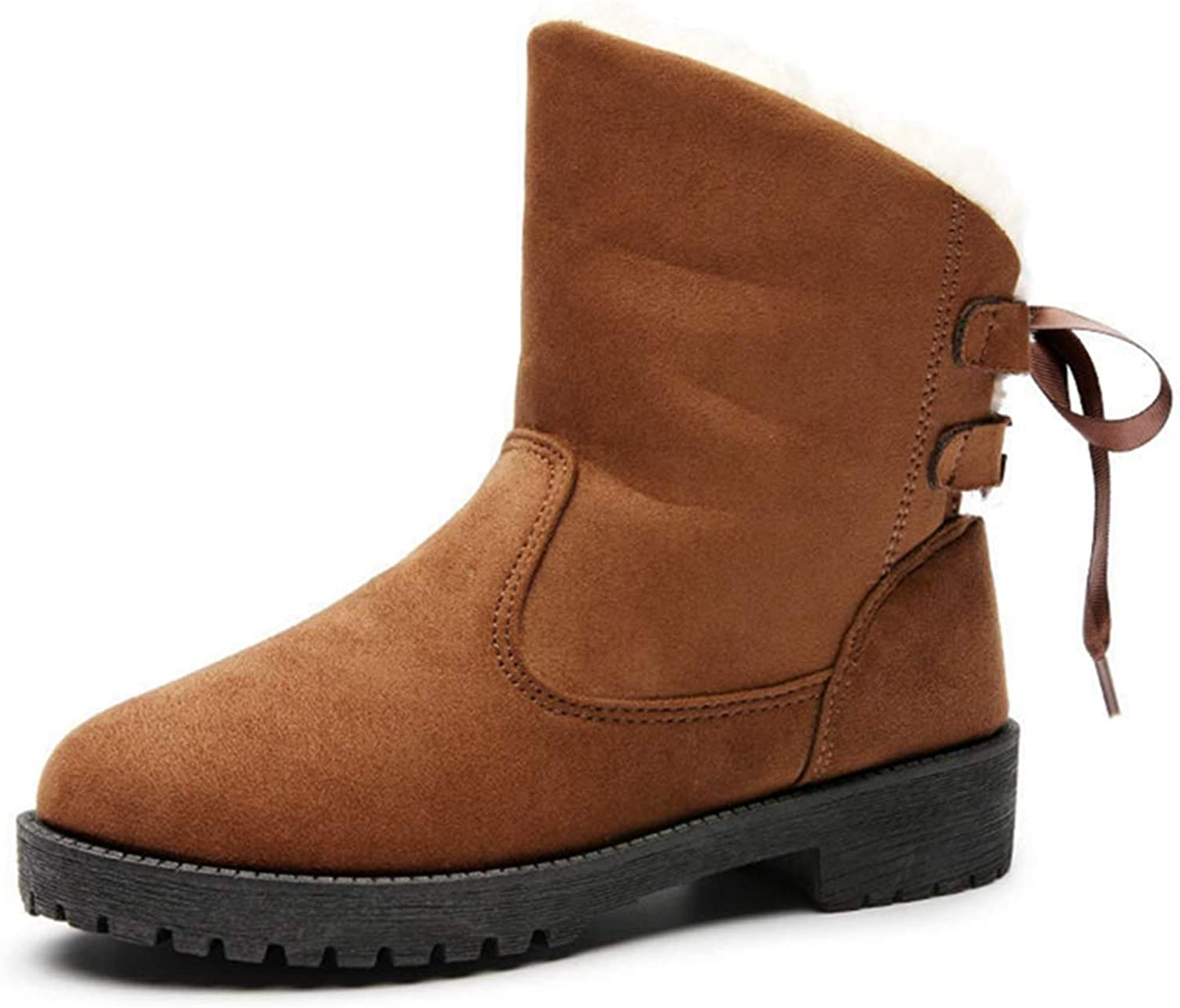 GIY Women's Suede Warm Snow Boots Comfortable Slip On Square Heel Winter Outdoor Snow Ankle Booties
