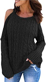 Womens Off Shoulder Loose Casual Solid Knitted Sweater Top Blouse