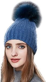 YaToy Unisex Winter Fur Pompom Beanie Hat Women Wool Skullies Hat