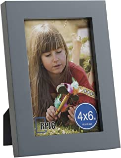 RPJC 4x6 Picture Frames Made of Solid Wood High Definition Glass for Table Top Display and Wall Mounting Photo Frame Grey
