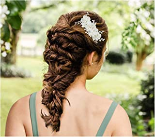 SWEETV Ivory Wedding Hair Comb Flower Bridal Hair Accessories Headpiece for Brides Wedding