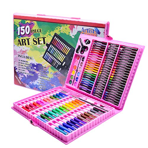 Art Supplies Drawing Set, Artist Supplies Painting Coloring Set, Portable Art Case Gift for Adults Artists Beginners Kids with Crayons, Oil Pastel, Color Pencil, Watercolours, Easel etc (Red)