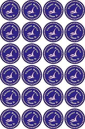 INDIGOS UG® Namensaufkleber Sticker - 30x30 mm - 038 - Pteranodon - Set von 24 Aufklebern individuell beschriftet - für Schule, Büro, zu Hause - Stifte, Hefte, Federmappen, Ordner