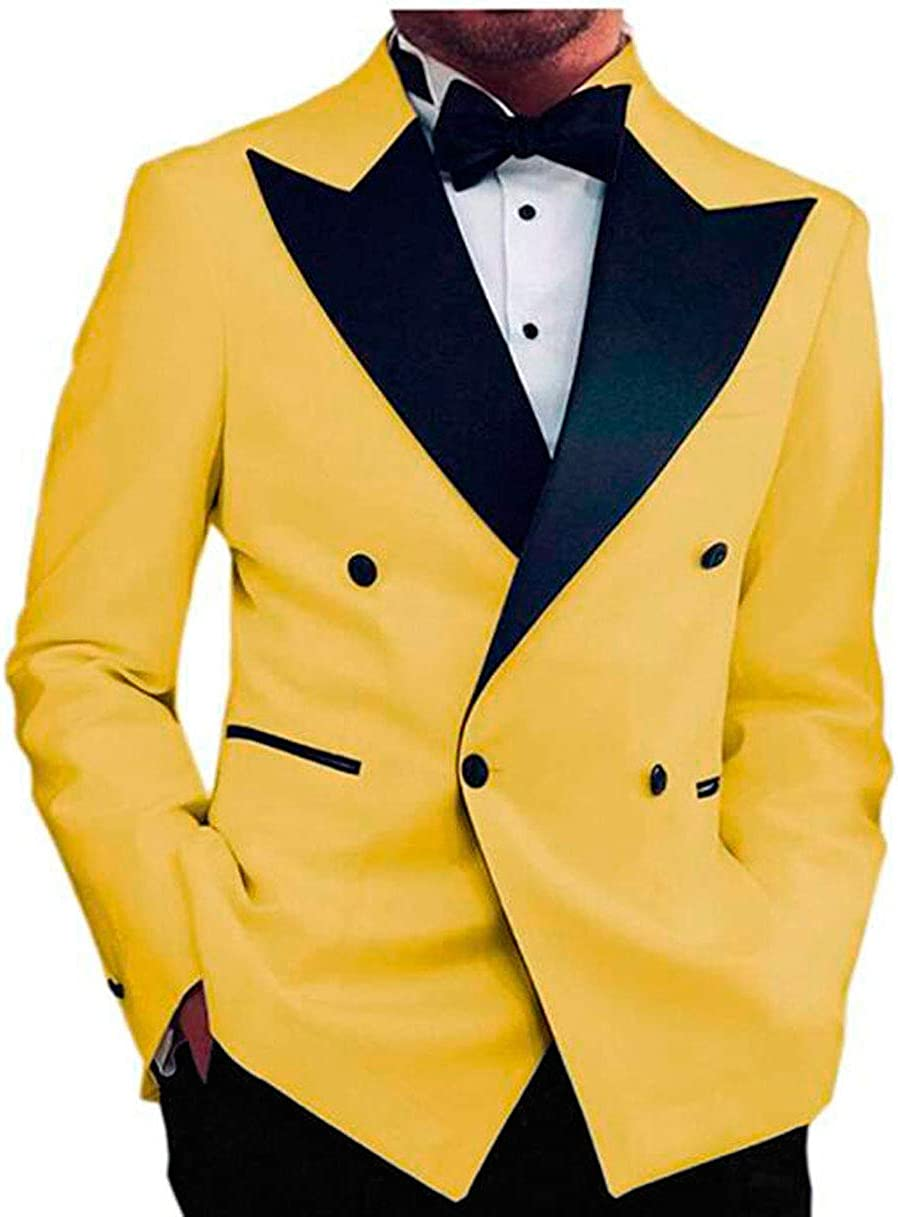 Botong Men's 2 PC Notch Lapel Tuxedos for Wedding Slim Fit Double Breasted Prom Suits Jacket Pants Casual Suit