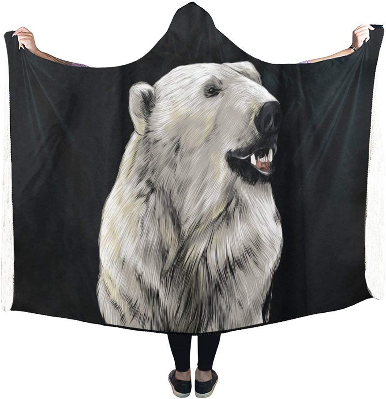 Dodom Polar Bear Head Hooded Blanket Pilling Polar Fleece Hooded Throw Wrap-,Kids 130(H) x150(W)