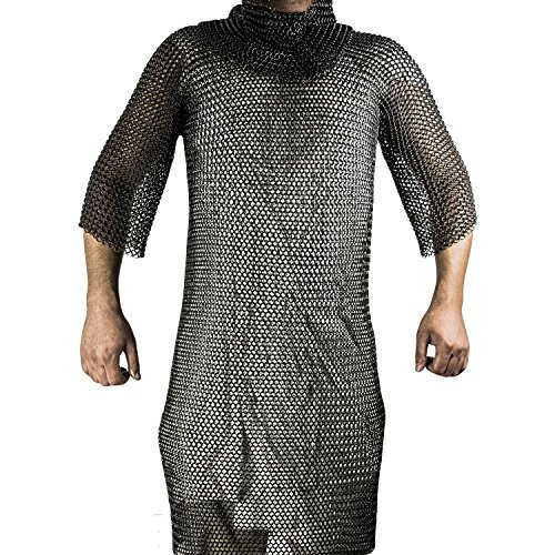 Black Medieval Renaissance Chain Mail Shirt Full Size Large Long Shirt