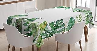 ABAKUHAUS Plante Nappe, Jungle Photo Themed, Linge de Table Rectangulaire pour Salle à Manger Décor de Cuisine, 140 cm x 2...