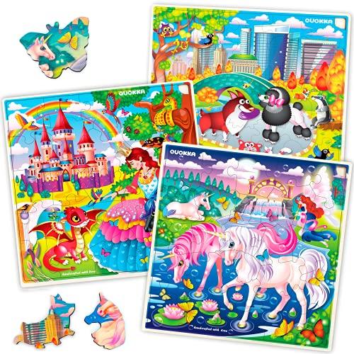 Rompecabezas de Unicornio Quokka para niños de 3 años - 30 Piezas de Juguetes para niños y niñas de 3 4 5 años - 3 Rompecabezas de Madera únicos para niños de 4 años en adelante