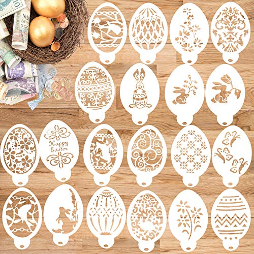Konsait 20Pack Easter Stencils Egg Drawing Templates Bullet Journal Supplies Plastic for Kids Cookie Cake Fondant Chocolate Candy Sugar Card Gift Easter Eggs Decoration Party Favor Supplies Card Craft