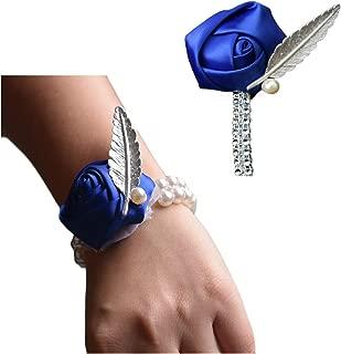 JustMyDress Bride Groom Brooch Wrist Corsage Satin Rose Flower Bouquet Leaves Brooch Pin JW73 (Royal Blue)