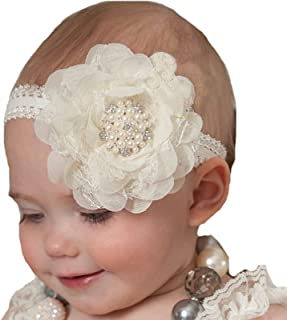 Lebo Baby Girl Lace Headbands with Bows Ivory
