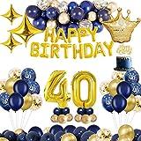 MMTX Decoraciones de cumpleaños, Oro Azul, decoración de Fiesta, decoración para Tartas, Pancarta de Feliz cumpleaños, Globos de Aluminio (40)